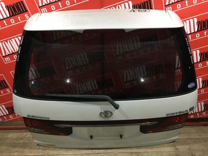 Дверь задняя багажника Toyota Estima ACR30 2AZ-FE 2003 задняя белый перламутр 28-170