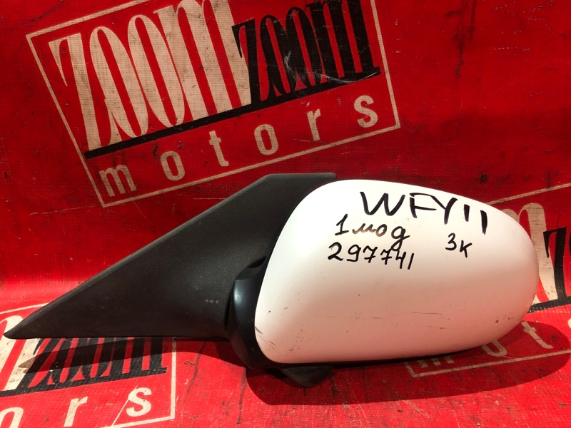 Зеркало боковое Nissan Wingroad WFY11 QG18DE 1998 переднее левое белый перламутр