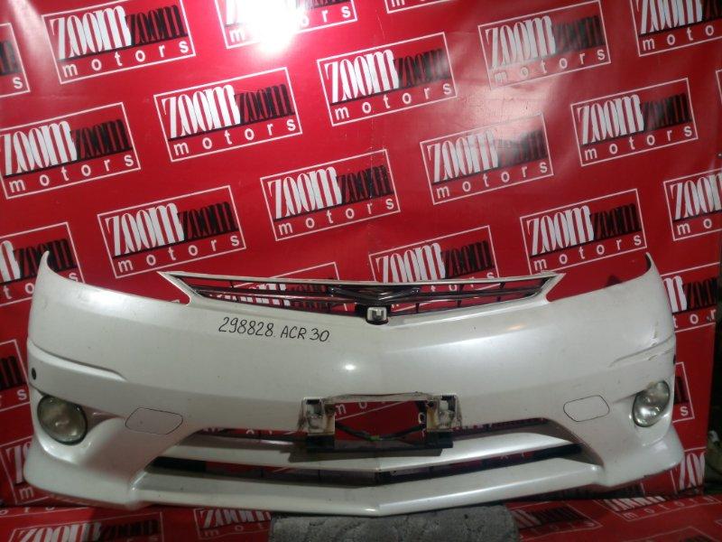 Бампер Toyota Estima ACR30 2AZ-FE 2003 передний белый перламутр