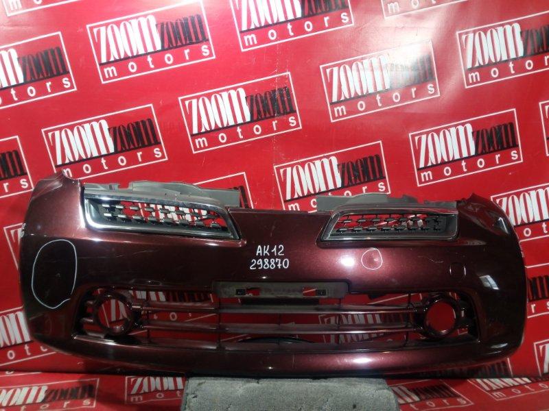 Бампер Nissan March AK12 CR12DE 2009 передний темно-вишневый