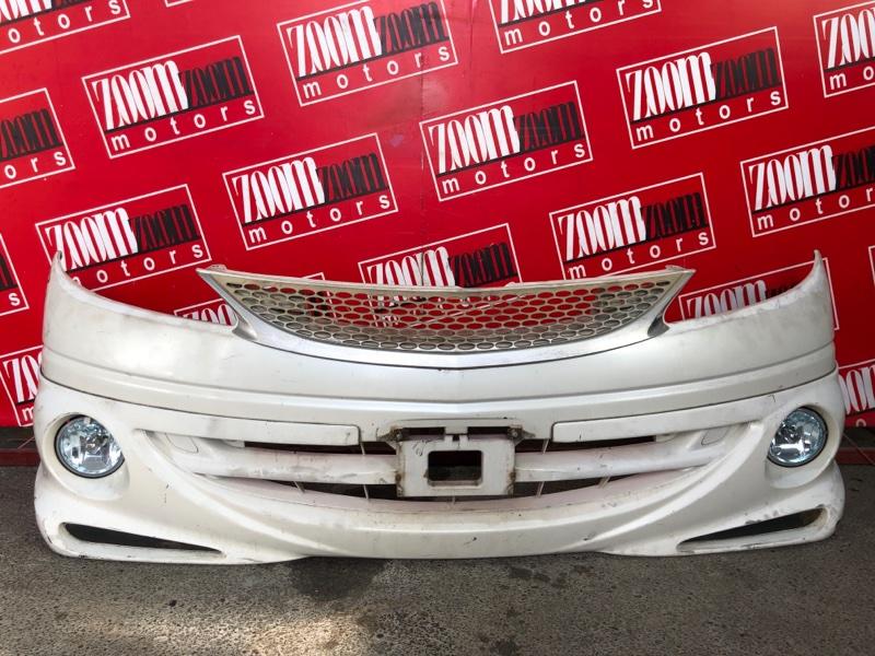 Бампер Toyota Estima ACR30W 2AZ-FE 2000 передний белый перламутр