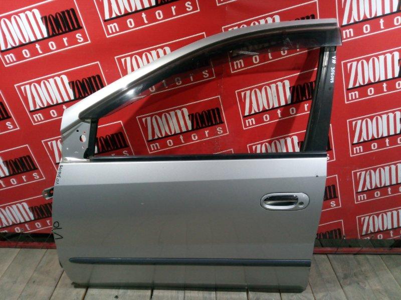Дверь боковая Nissan Tino V10 SR18DE 1998 передняя левая серебро