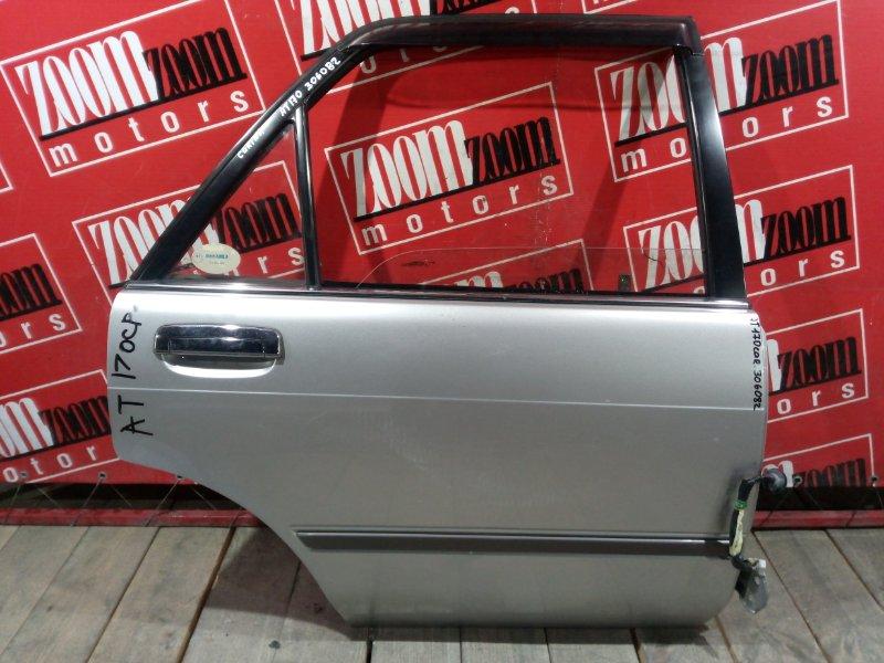 Дверь боковая Toyota Carina AT170 5A-FE 1988 задняя правая серебро