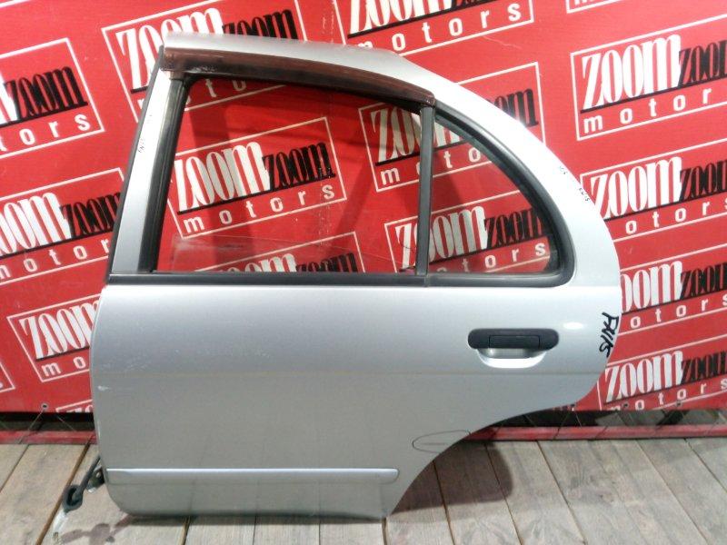 Дверь боковая Nissan Pulsar FN15 GA15DE 1995 задняя левая серебро