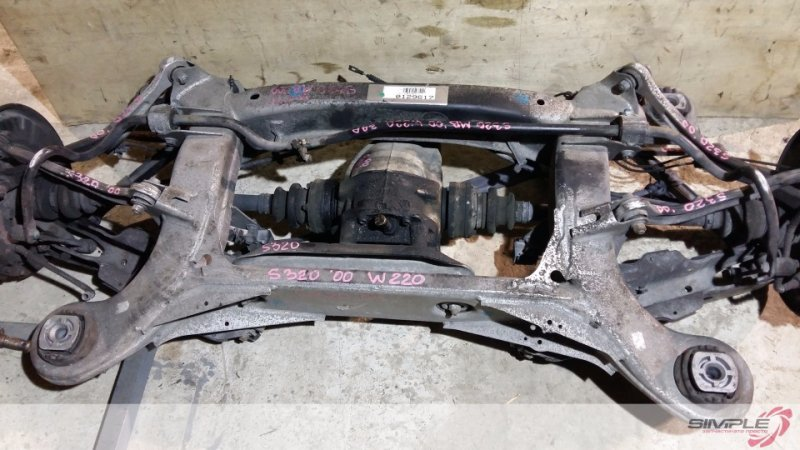 Подвеска Mercedes-Benz S-Class W220 2000 задняя Задний паук в сборе: балка, редуктор, привода,  (б/у)