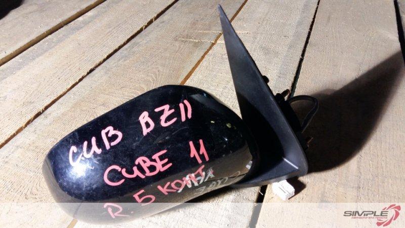 Зеркало заднего вида боковое Nissan Cube BNZ11 HR15 2004 переднее правое 5 контактов, черное (б/у)