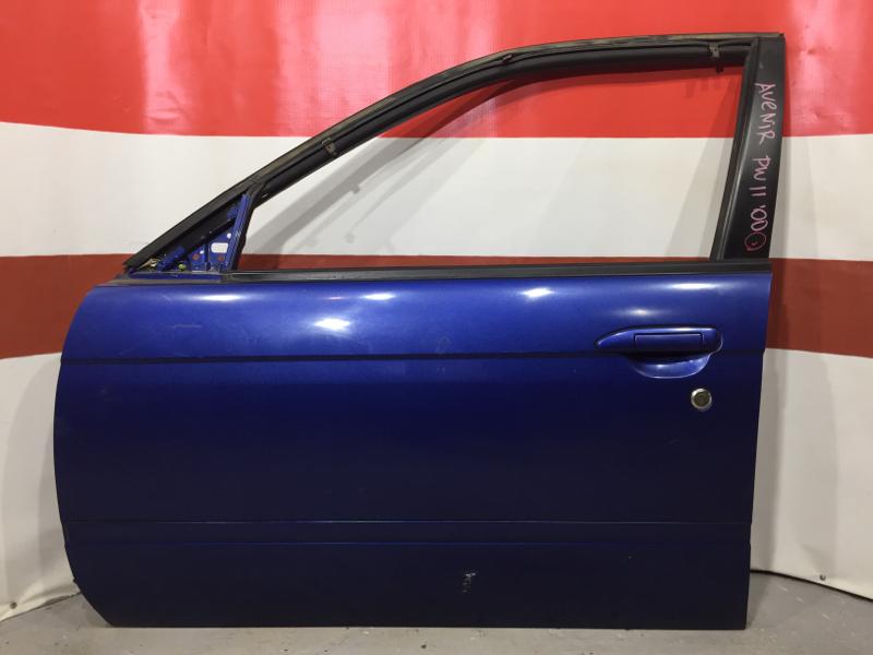 Дверь боковая Nissan Avenir PW11 SR20 2000 передняя левая (+09.06.20)  Синяя, в сборе (б/у)