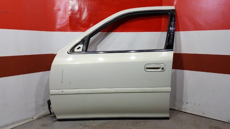 Дверь боковая Toyota Cresta GX100 1G 1997 передняя левая Снят замок, стекло, стеклоподъёмник. (б/у)