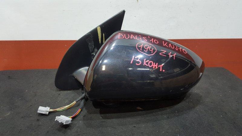 Зеркало заднего вида боковое Nissan Dualis KNJ10 MR20DE 2010 левое 96374-JD01A Камера, 13 контактов.  (б/у)