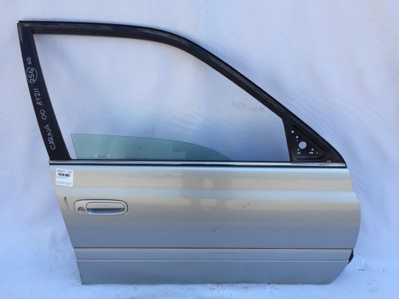 Дверь боковая Toyota Carina AT211 7A 2000 передняя правая Снято стекло, снят ограничитель, (б/у)
