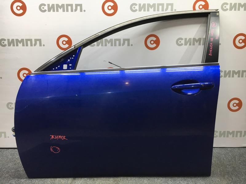 Дверь боковая Mazda Atenza GH5FS L5 2008 передняя левая Цвет 34J. Есть небольшой жимок (см.фото).  (б/у)