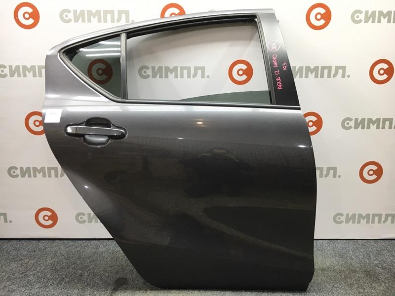 Дверь боковая Toyota Aqua NHP10 1NZ-FXE 2012 задняя правая Цена за голую дверь. Цвет 1G3. (б/у)