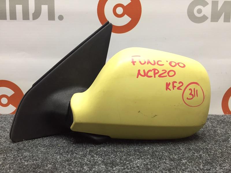 Зеркало заднего вида боковое Toyota Funcargo NCP20 2NZ 2000 левое 3 контакта. (б/у)