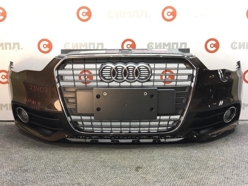 Бампер Audi A1 8XA 2011 передний 73407 (+14.05.20) Туманки, под омыватели. Коричневый. 3 двери. (б/у)