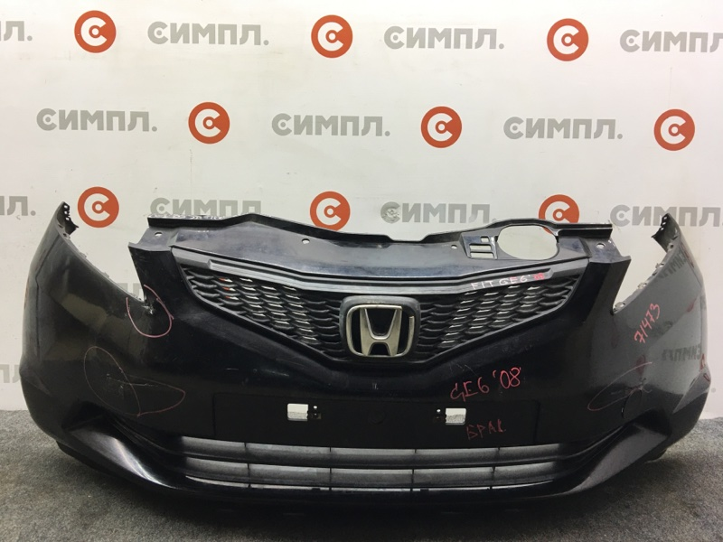 Бампер Honda Fit GE6 2008 передний 71473 (+14.05.20) Черный. Брак. Решетка. (б/у)