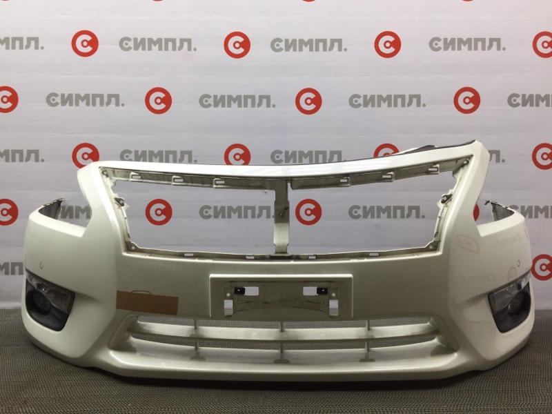 Бампер Nissan Teana L33 QR25 2015 передний 105925 (+14.05.20) Туманки, поворотники, сонары. Цвет - QAB. (б/у)