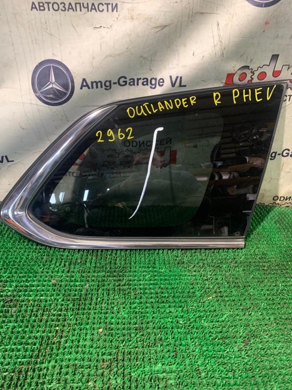Стекло собачника Mitsubishi Outlander Phev GG2 4B11 2013 заднее правое