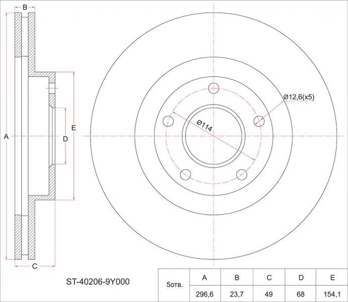 Тормозной диск Nissan Teana J31