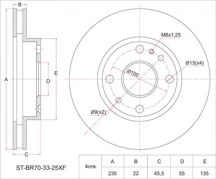 Тормозной диск Mazda 323 BJ3P