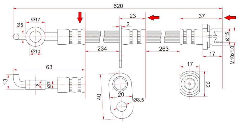 Шланг тормозной Toyota Toyota Corolla / Spacio / Fielder / Opa / Allion / Prius / Sienta / Ardeo / Wishrhd NZE120 передний левый