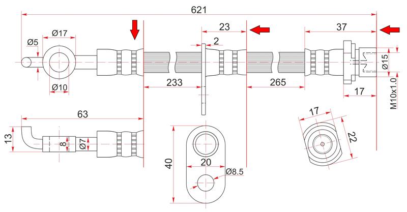 Шланг тормозной Toyota Toyota Corolla / Spacio / Fielder / Opa / Allion / Prius / Sienta / Ardeo / Wishrhd NZE120 передний правый
