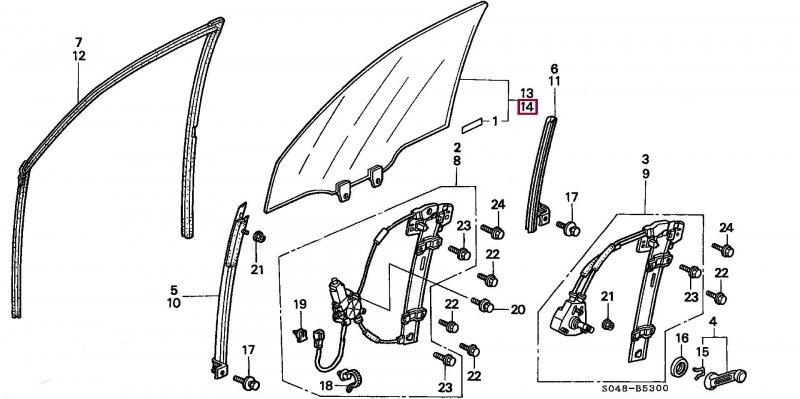 Стекло переднее Honda Civic B18B левое