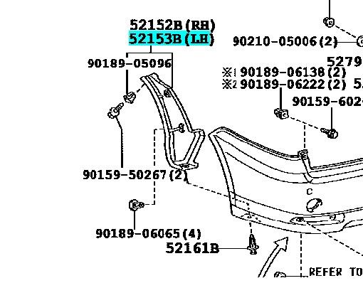 Подкрылок Toyota Ipsum ACM21 задний левый TOYOTA 52153-44060