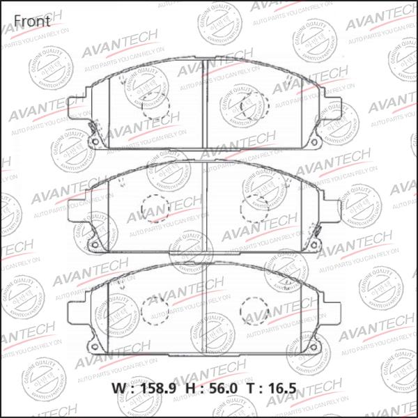 Колодки тормозные передние AVANTECH AV1073