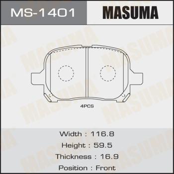 Колодки тормозные MASUMA MS1401
