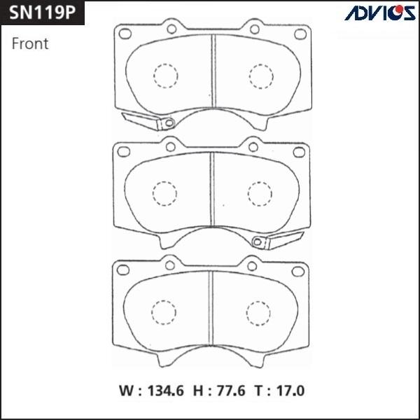 Колодки тормозные ADVICS SN119P