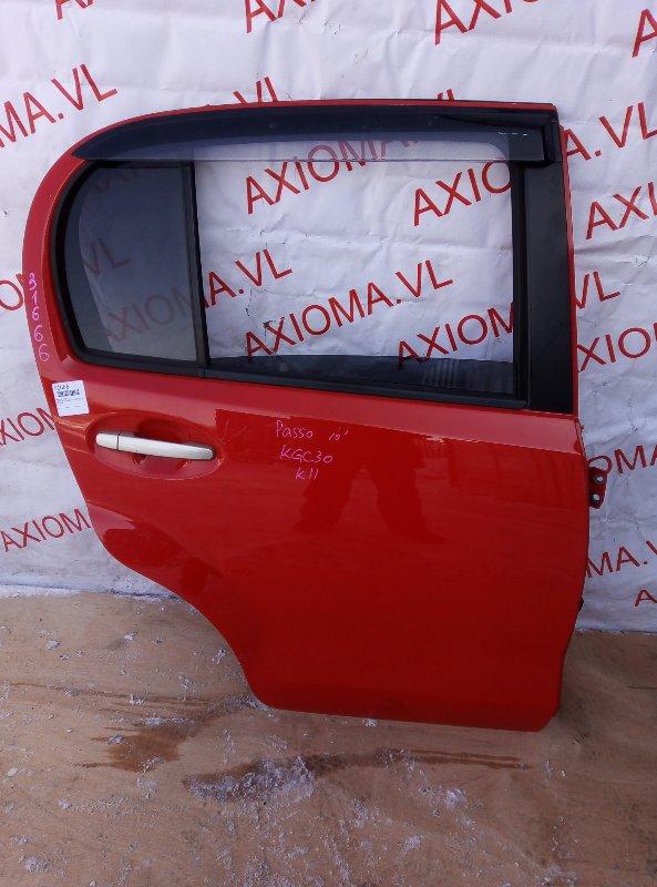 Дверь Toyota Passo KGC30 1KR 2010 задняя правая