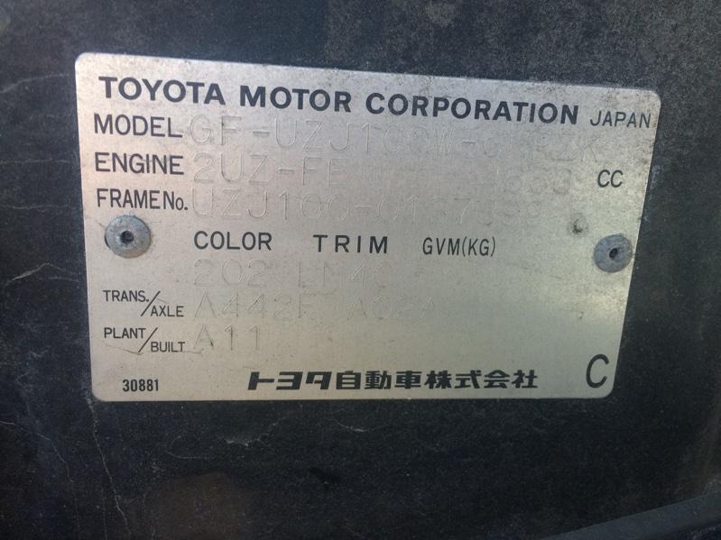 Акпп Toyota Land Cruiser Cygnus UZJ100