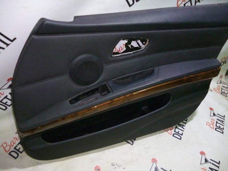 Обшивка двери передней правой кожа дерево  BMW e90 контр.