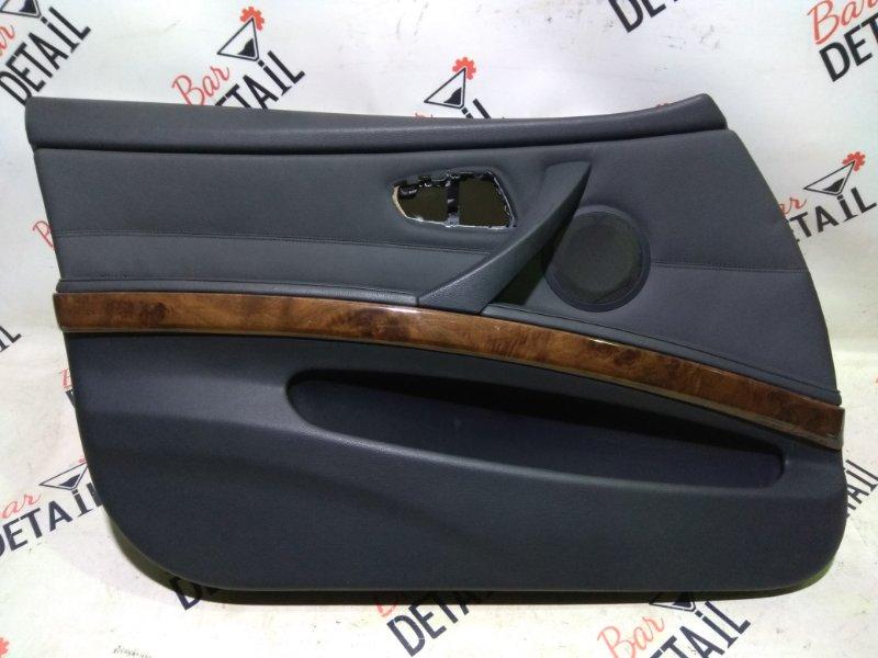 Обшивка двери передней левой кожа дерево  BMW e90 контр.