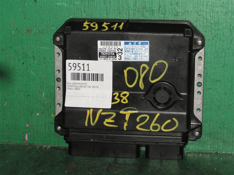 Блок управления efi Toyota Allion NZT260 1NZ-FE 89661-20B30