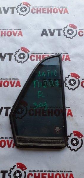 Стекло двери задней Nissan Tiida Latio SC11-250344 HR15DE 2010 заднее правое