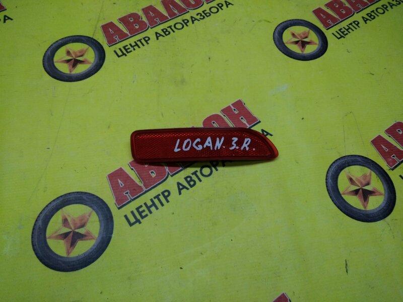 Катафот в бампер Renault Logan LS 2013 задний правый
