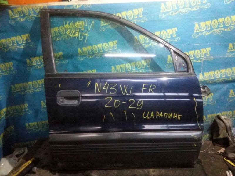 Дверь Mitsubishi Chariot N43W 4G63 1995 передняя правая