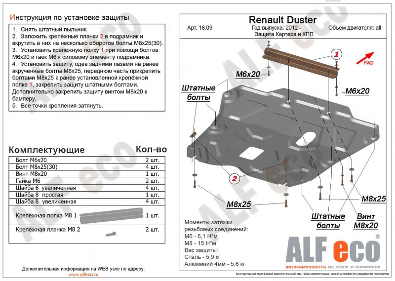 Защита картера двигателя железная Renault Duster HSA F4R