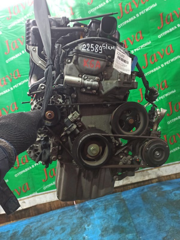 Двигатель Suzuki Palette MK21S K6A 2009 (б/у) ПРОБЕГ-51000КМ. 2WD. +КОМП. МЕХ. ЗАСЛОНКА. ПОД А/Т. СТАРТЕР В КОМПЛЕКТЕ.