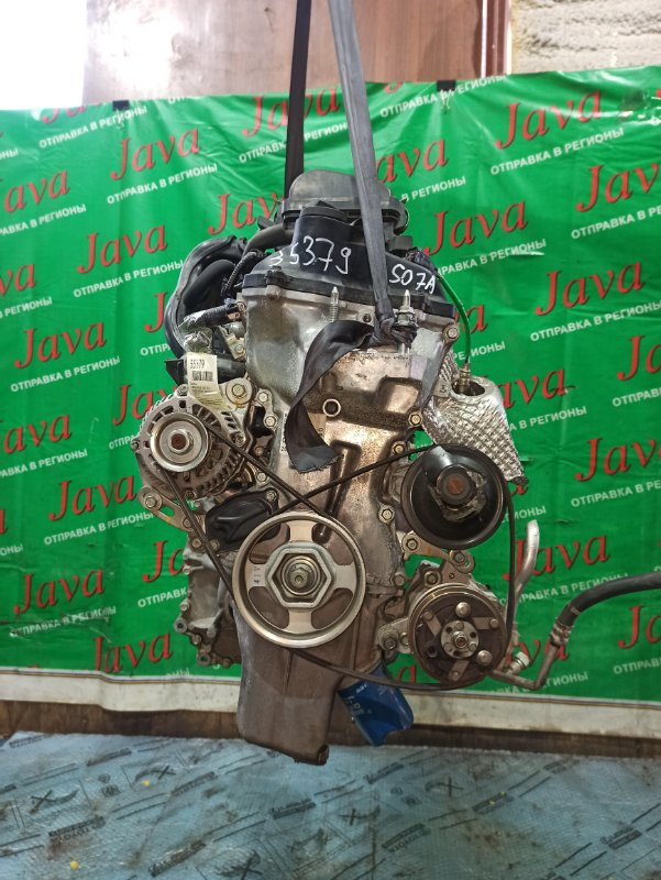 Двигатель Honda N-Box JF1 S07A 2014 (б/у) ПРОБЕГ-36000КМ. 2WD. КОСА+КОМП. ПОД А/Т. СТАРТЕР В КОМПЛЕКТЕ. ЛОМ ШКИВА ПОМПЫ.