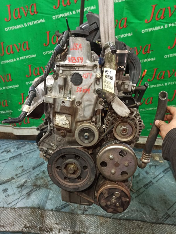 Двигатель Honda Airwave GJ1 L15A 2004 (б/у) ПРОБЕГ-57000КМ. 2WD. КОСА+КОМП. ПОД А/Т. СТАРТЕР В КОМПЛЕКТЕ.