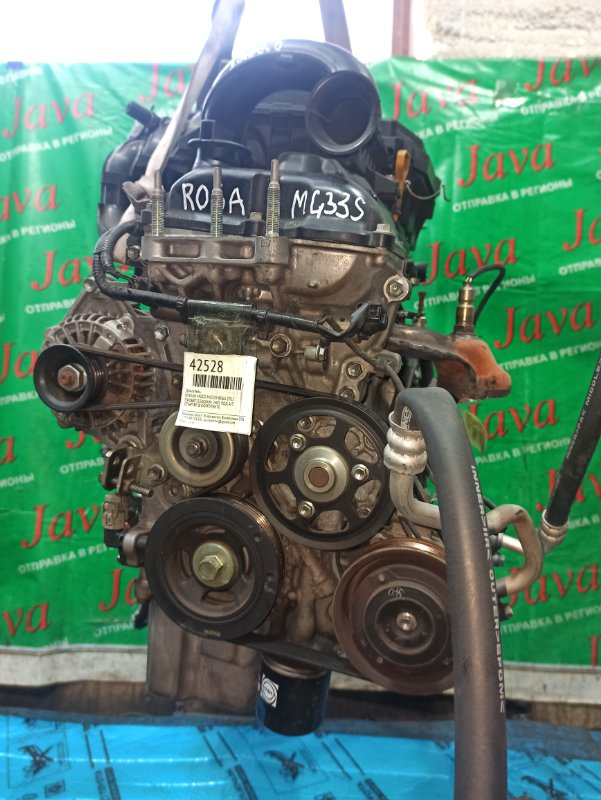 Двигатель Nissan Moco MG33S R06A 2012 (б/у) ПРОБЕГ-55000КМ. 2WD. КОСА+КОМП. ЭЛЕКТРО ЗАСЛОНКА.  ПОД А/Т. СТАРТЕР В КОМПЛЕКТЕ.