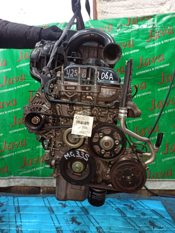 Двигатель Nissan Moco MG33S R06A 2012 (б/у) ПРОБЕГ-33000КМ. 2WD. +КОМП. ЭЛЕКТРО ЗАСЛОНКА. ПОД А/Т. СТАРТЕР В КОМПЛЕКТЕ.