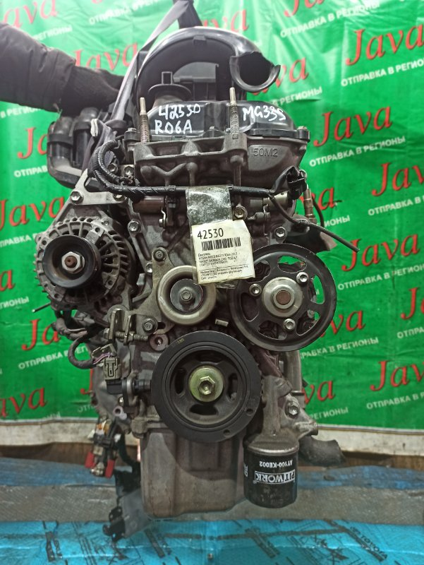 Двигатель Nissan Moco MG33S R06A 2013 (б/у) ПРОБЕГ-34000КМ. 2WD. +КОМП. ПОД А/Т. СТАРТЕР В КОМПЛЕКТЕ. БЕЗ КОНДИЦИОНЕРА.