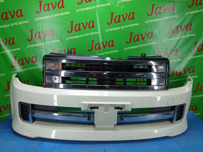 Бампер Nissan Cube YZ11 HR15DE 2008 передний (б/у) ПОТЕРТОСТИ. РЕМОНТНЫЕ НИЖНИЕ КРЕПЛЕНИЯ. +РЕШЕТКА.