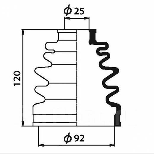 Пыльник ШРУСа наружный HONDA CR-V '02 (92X25X120)