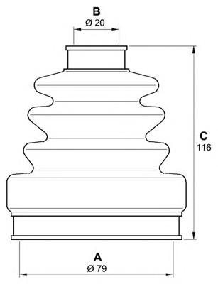 Пыльник ШРУСа наружный MITSUBISHI CHARIOT (79X20X116)