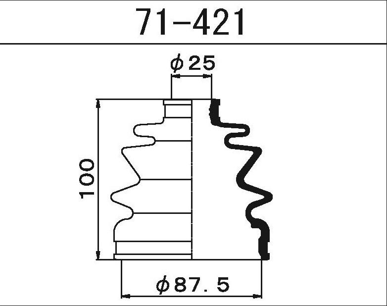 Пыльник ШРУСа наружный SUBARU/NISSAN  (88X25X100)