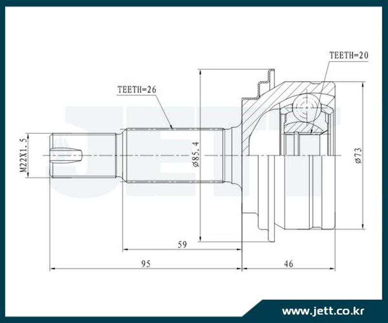 Шрус внешний Toyota Vitz KSP130 1KRFE передний JETT V41-9232
